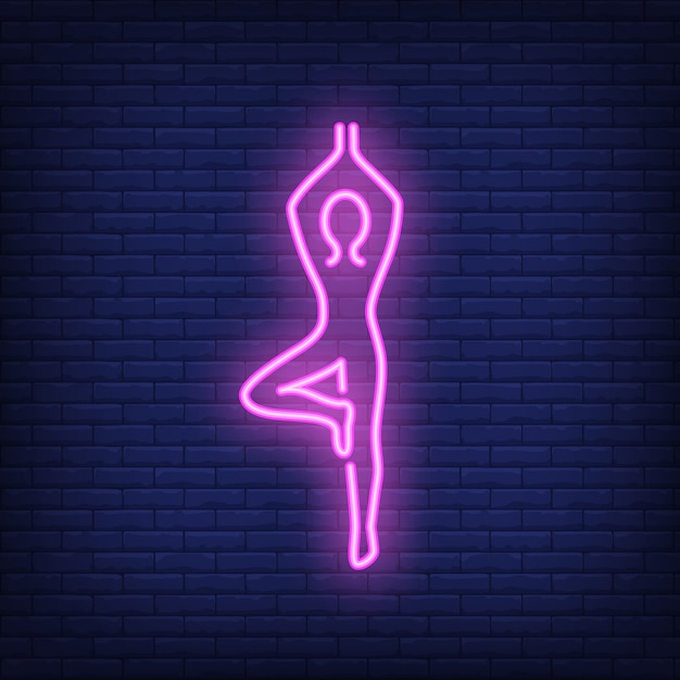Person doing yoga neon sign Free Vector