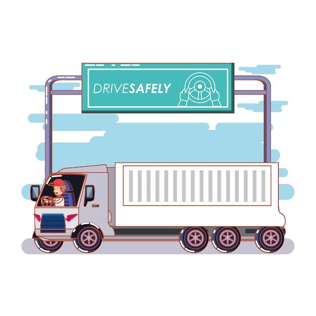 Человек, обеспечивающий безопасную кампанию водителя Premium векторы