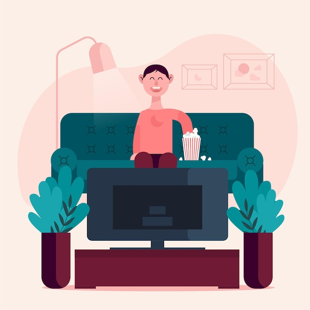 Person enjoying a movie with some popcorn Free Vector