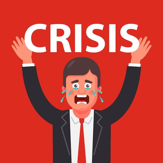Человек испытывает огромное давление на себя из-за кризиса Premium векторы