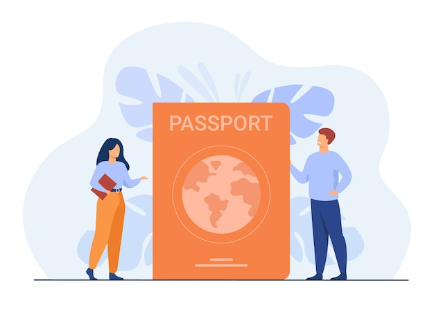 Person getting id document. tiny people travelling with foreign passport. Free Vector