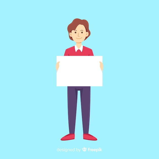 Person holding blank banner Free Vector