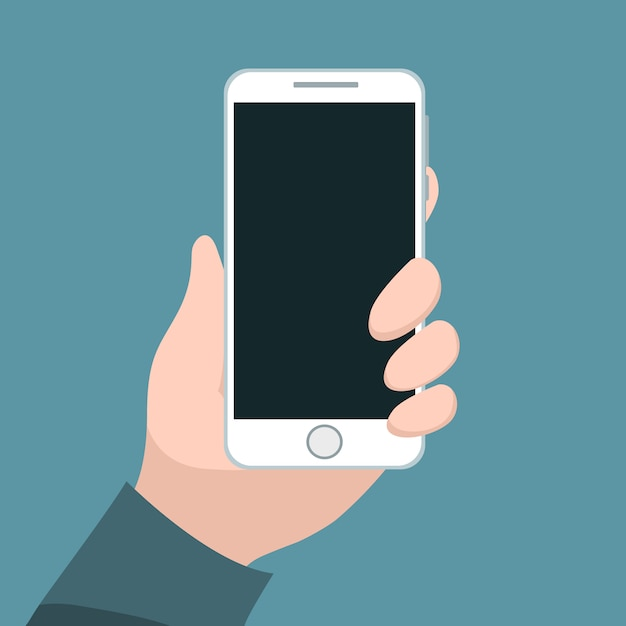 Person holding cell phone with his hand Premium Vector