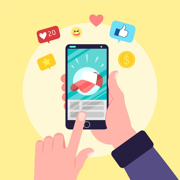 Person holding phone with apps Free Vector