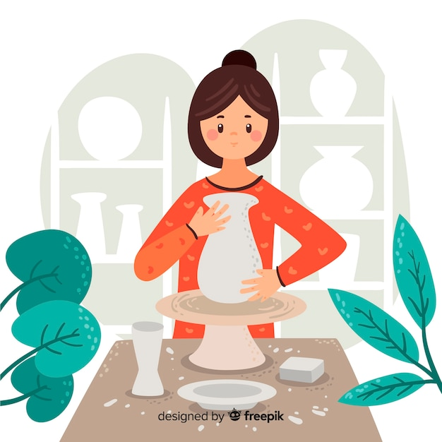 Person at home making pottery Premium Vector