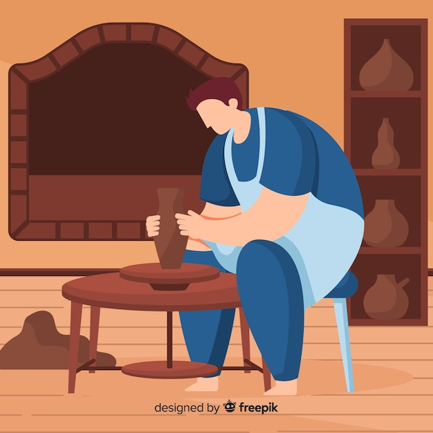 Person at home making pottery Free Vector