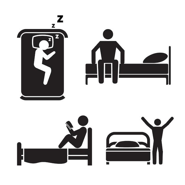 ベッドにいる人、イラストセット 無料ベクター