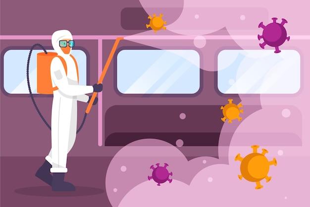 Человек в костюме hazmat убирает в метро Бесплатные векторы