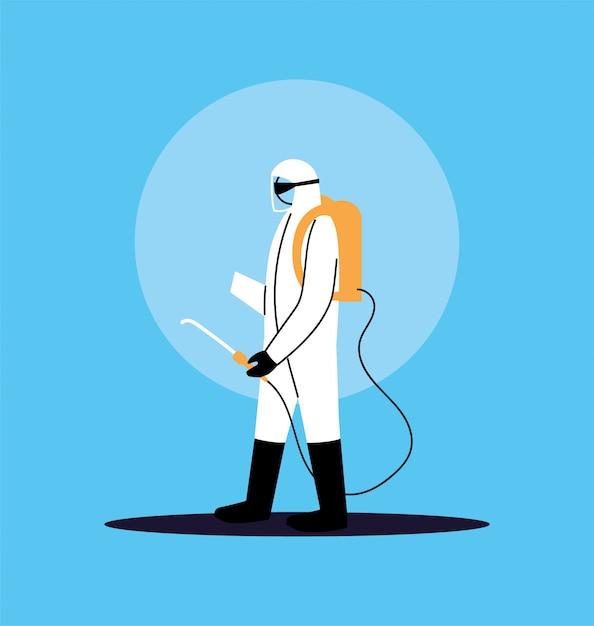 Человек в костюме для дезинфекции работы по covid-19 Premium векторы