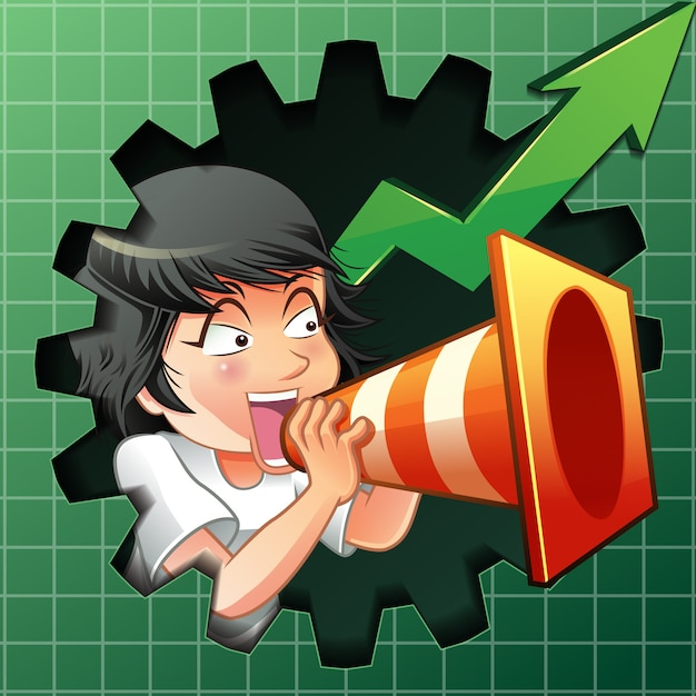 Person is inviting to buy shares. Premium Vector
