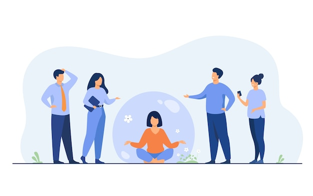 Person keeping social distance and avoiding contact. woman separating from crowd and meditating in transparent bubble. Free Vector