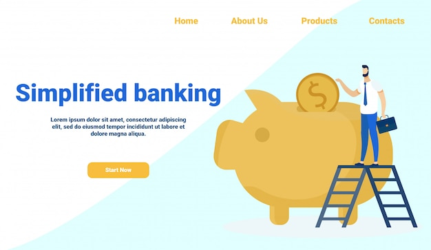 Person on ladder putting savings into piggy bank Premium Vector