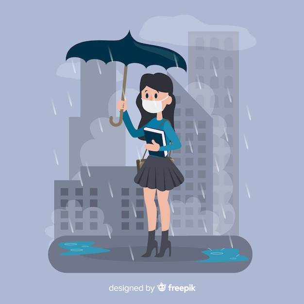 Person living in a city full of pollution Free Vector