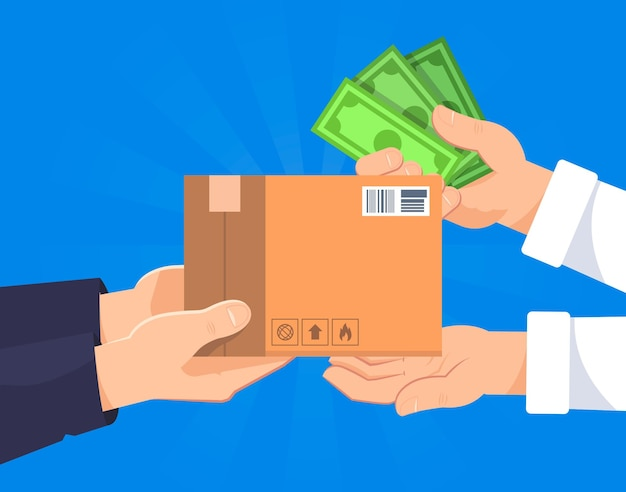 Person paying a package after receiving it Premium Vector