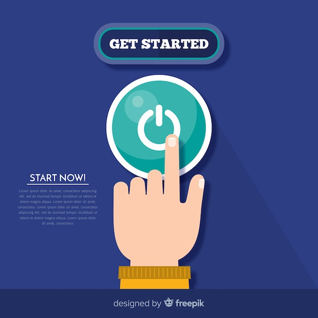 Person pressing start button Free Vector