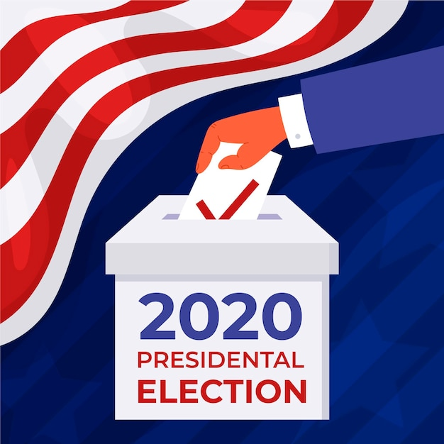 Person putting a voting ballot in a box in usa Free Vector