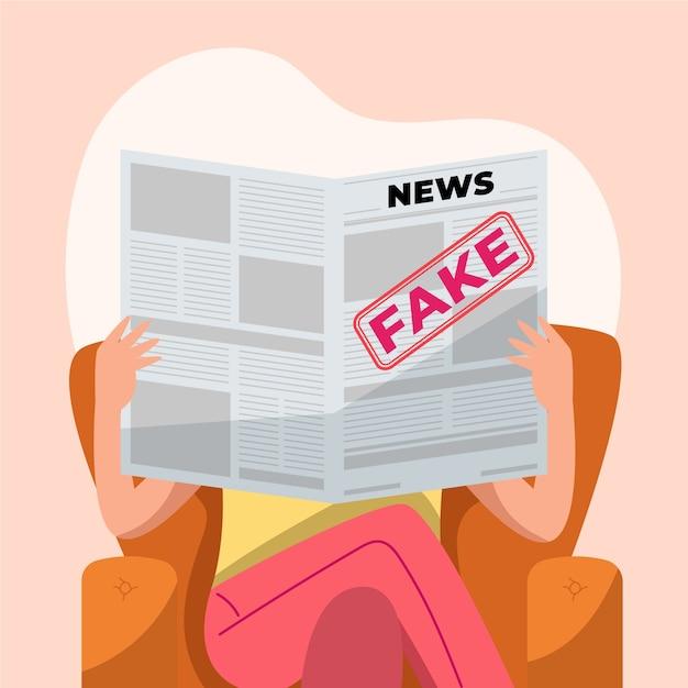 新聞で偽のニュースを読んでいる人 無料ベクター