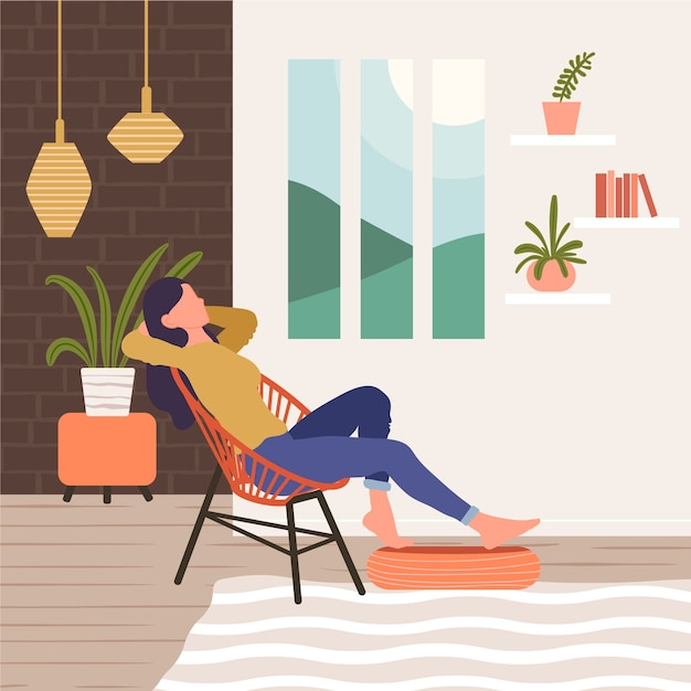 A person relaxing at home illustration Free Vector