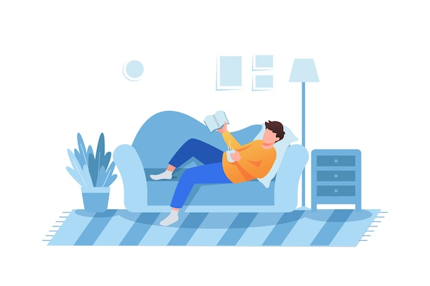 Free Vector | A person relaxing at home
