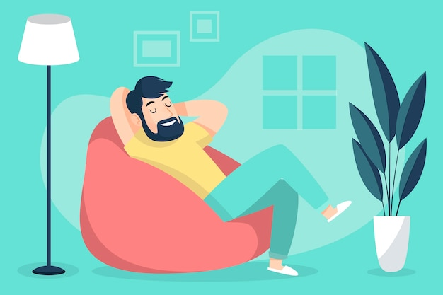 A person relaxing at home Free Vector