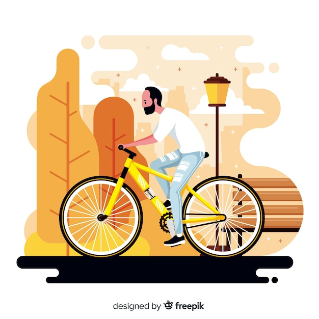 Person riding a bike in the park background Free Vector