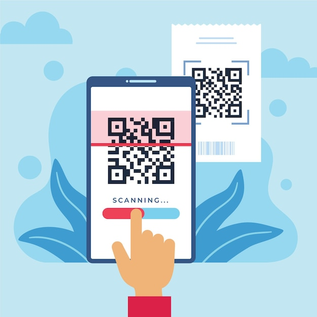 Person scanning a qr code with a smartphone illustrated Free Vector