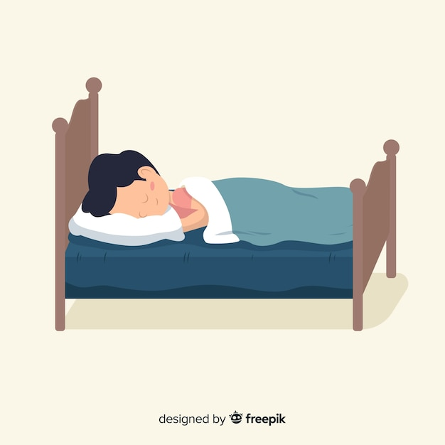 Person sleeping in bed background Free Vector
