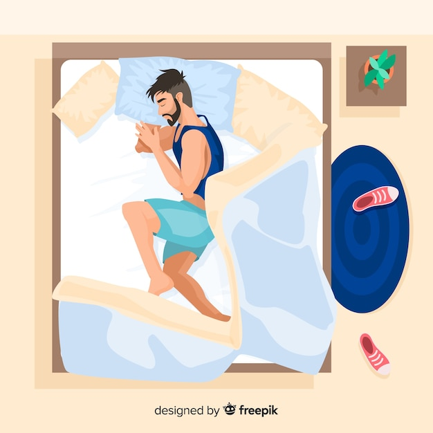 Person sleeping in bed in flat style Free Vector