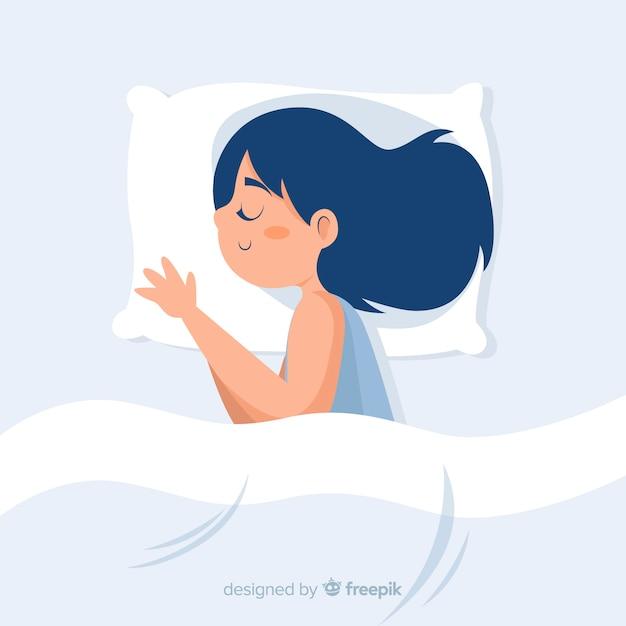 ベッドの背景で眠っている人 Premiumベクター