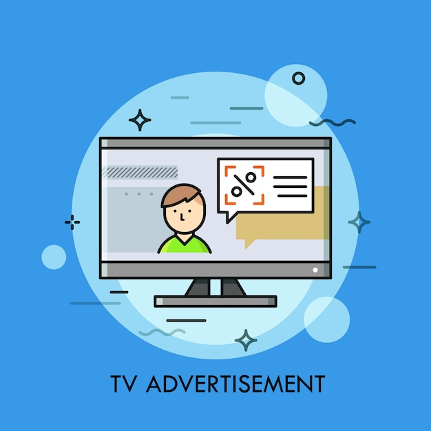 Person and speech balloon with announcement on tv screen. Premium Vector