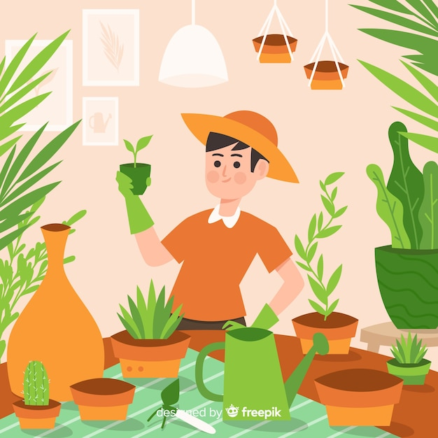 Person taking care of plants Free Vector