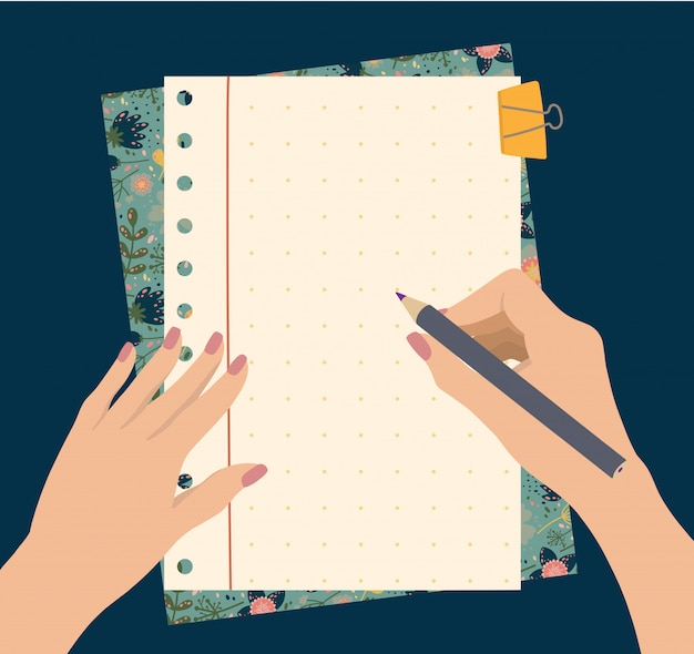 Person taking notes Premium Vector