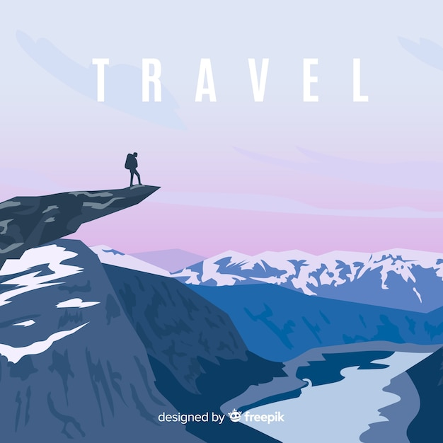 Person on the top of a mountain background Free Vector
