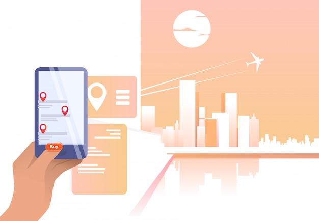 Person using online app and buying flight ticket Free Vector