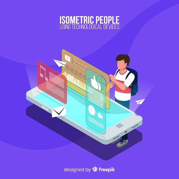 Person using smartphone Free Vector