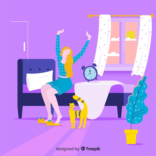 Person waking up background Premium Vector
