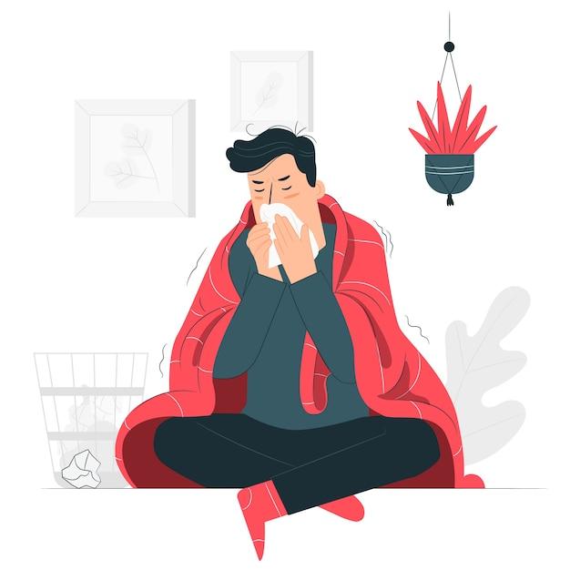 Человек с холодной концепцией иллюстрации Бесплатные векторы