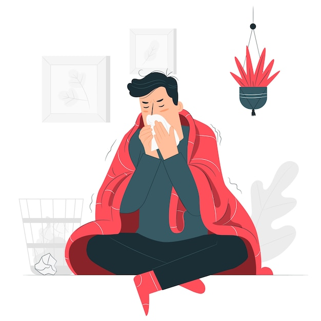 Person with a cold concept illustration Free Vector