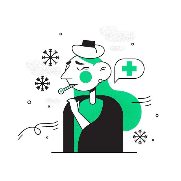 Person with a cold doodle Free Vector
