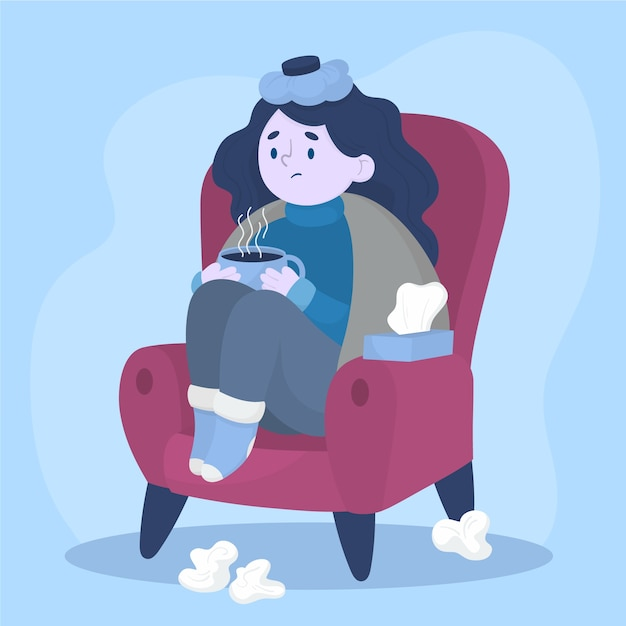 A person with a cold illustration Free Vector
