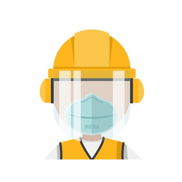 Человек со средствами индивидуальной защиты и маской Premium векторы