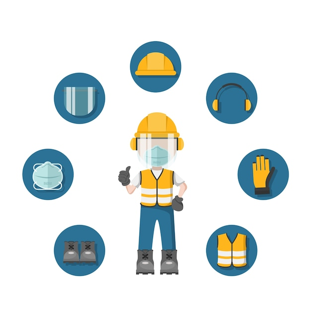 Person with his personal protective equipment and face mask and industrial safety icons Premium Vector