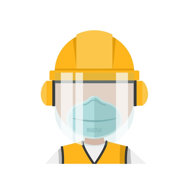 Person with his personal protective equipment and face mask Premium Vector