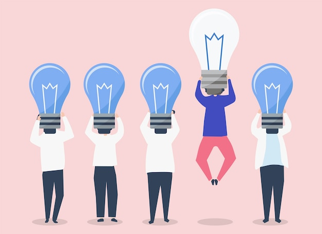 Person with a light bulb head standing out illustration Free Vector