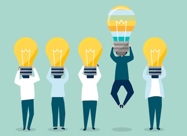 Persona con una testa di lampadina in piedi illustrazione Vettore gratuito