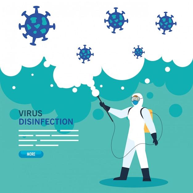 Человек с защитным костюмом или распыления вирусов и частиц cvid 19, дизайн иллюстрации концепции вируса дезинфекции Premium векторы