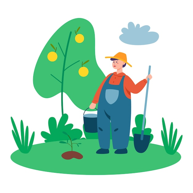 Person working on a fram. farmer working on the field with pitchfork and shovel. living in the village. isolated vector flat illustration Premium Vector