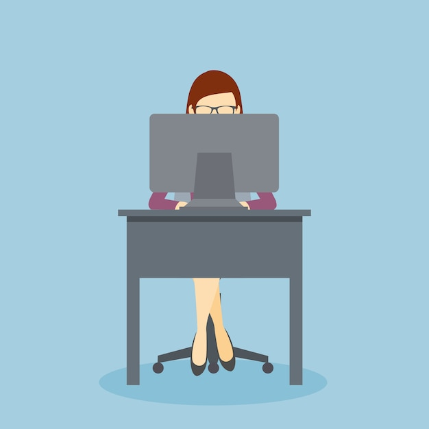 Person working at his office desk with his personal computer Premium Vector