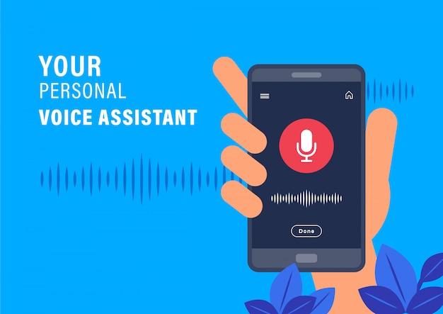 パーソナルアシスタントと音声認識のコンセプト。 ai音声アシスタントアプリケーションでスマートフォンを持っている手。フラットなデザインのベクトル図です。 Premiumベクター
