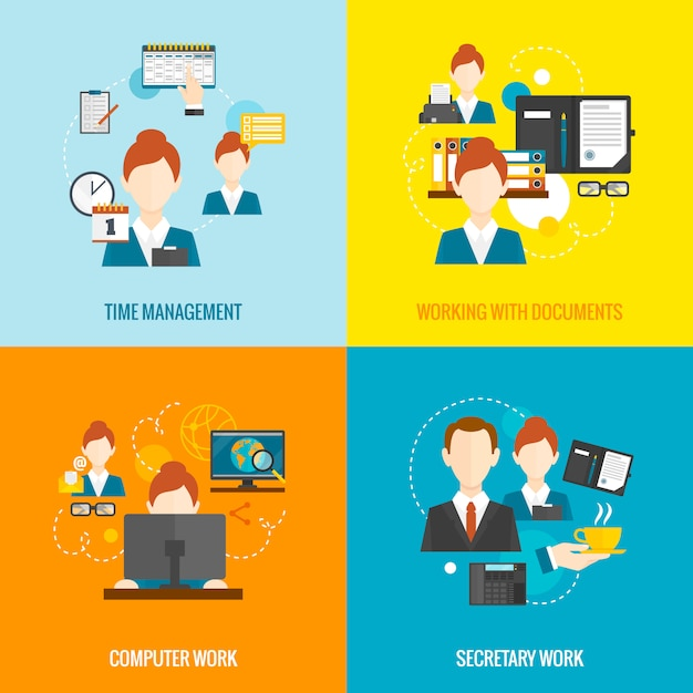 Personal assistant set Free Vector
